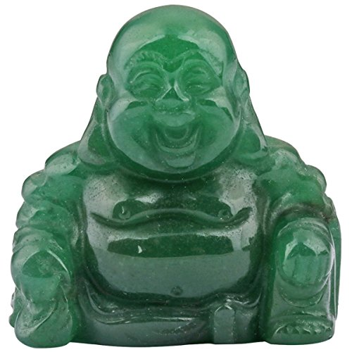 Nupuyai Grün Aventurin Lachender Buddha Figur Edelstein Kristall Glücksbuddha Heilstein Glücksbringer Feng Shui Dekoration