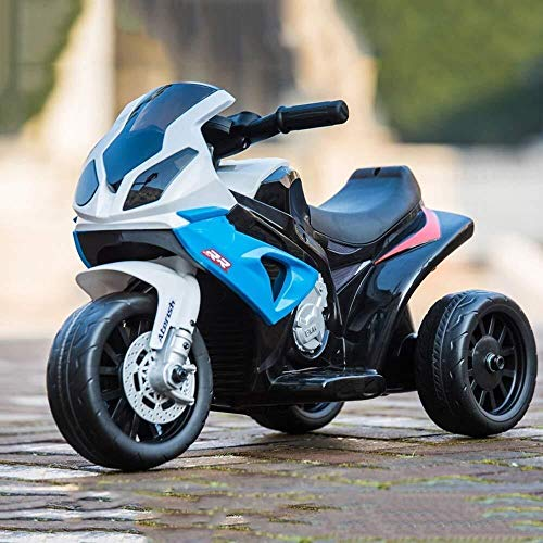 Xfwj Children's elektrische motorfiets op drie wielen kan zitten Can Ride Motorcycle Electric Off-road Model Car Boy Girls Birthday Gift Toy Toddler Toy wielen Machine (Color : Blue)
