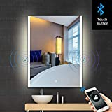 S·BAGNO 32x24 Inch Bathroom Illuminated LED Lighted Vanity Mirror, with Built-in Bluetooth Speaker, Dimming Function, Anti Fog and Touch Sensor Switch