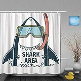 ShopHM Cortinas de Ducha,Cute Graphic Shark Typo y Summer Boy Kid Cute tee, Cortina de Baño Material de poliéster Resistente al Agua con Ganchos 180 * 180cm