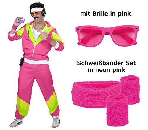 Herren 80 er Jahre Trainingsanzug - Jogginganzug Gr. S bis XXL - pink - Partnerkostüm mit Brille, Schweißbänder (X-Large)