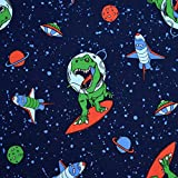 MAGAM-Stoffe Space-Dino Jersey Kinder Stoff Oeko-Tex