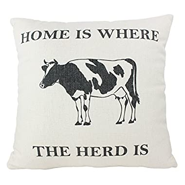 Vintage Shabby Chic Butterfield Farms, Home Sweet Farmhouse, Farm Markets, Home Milk Cow, Pillow Cover 16  Square (Home & Milk Cow)