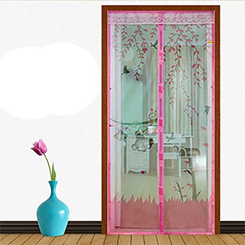 N / A Summer Home Cool Design Puerta de Pantalla Anti-magnética Anti-Mosquito Cortina de Tul Cierra automáticamente la Puerta Cortina Net A4 W110xH210