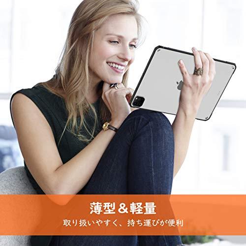 iPadPro11ケース2020TiMOVOiPadPro11ケースクリアApplePencil2ワイヤレス充電可能ハードバックケースTPU柔軟エッジ四隅エアクッションストラップホール付き極薄軽量耐衝撃傷防止熱発散手触り良い着脱簡単ipadpro11インチ第2世代Black