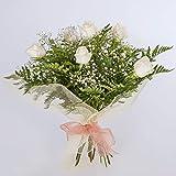 REGALAUNAFLOR-Ramo de 6 rosas blancas naturales-FLORES FRESCAS-ENTREGA EN 24 HORAS