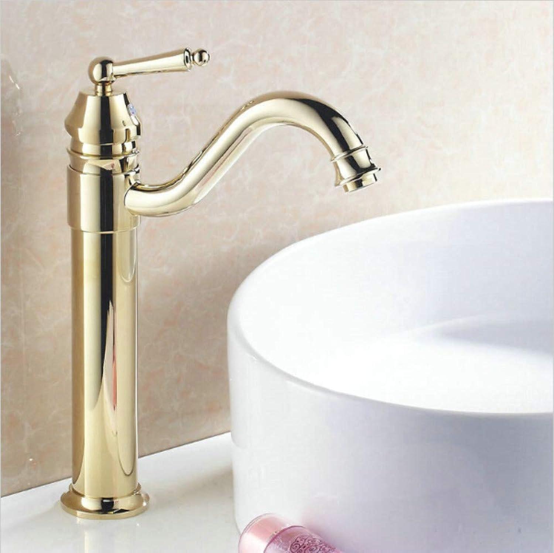 Waschtischarmatur Gold überzogene Lange Mund-Luxuseinzelloch-Plattform Brachte Dünnen Dünnen Hohen Gelben Becken-Wannen-Badezimmer-Hahn An