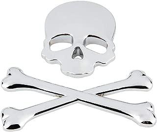 Wakauto 3D Skull Car Sticker Metal Skeleton Crossbones Motorcycle Sticker Label Skull Emblem Badge Car Styling Stickers (Silver)