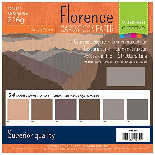 Vaessen Creative Florence Scrapbook-Papier 216 g 12x12-x24 Blatt-Multipack, braun, Paper, Multicolor, 30.5 x 30.5 x 0.7 cm