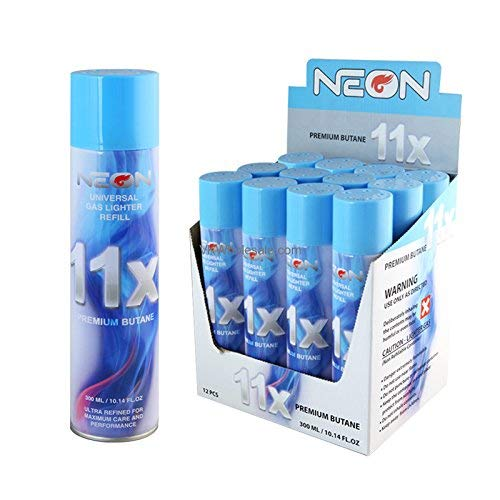 Neon 11x Ultra Refined Butane Fuel Lighter Refill Gas Pack of 12
