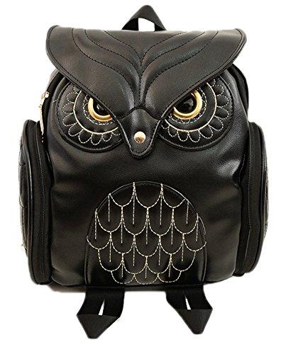 Hugaily gufo Animal Style Zaino carino Zaino in pelle vera per ragazze donne borsa di scuola