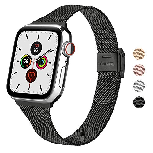 Wanme Correa Compatible con Apple Watch Correa 44mm 42mm 40mm 38mm, Estrecha y Fina Pulsera de Repuesto de Acero Inoxidable Hebilla de Metal para iWatch Series 6 5 4 3 2 1 SE (38mm/40mm, Negro)