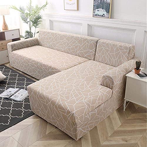 Funda de sofá elástica Suave, para Sala de Estar Funda de sofá geométrica elástica en Forma de L Longue Corner-12_1-Seat_and_1-Seat, Fundas de sofá Fundas elásticas de Tela de poliéster