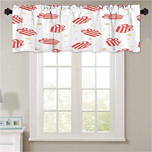 YUAZHOQI - Cortinas de cenefa, diseño de vectores sin costuras con cajas de regalo rojas y 1 panel de 50 x 18 pulgadas para ventanas para ventanas de cocina