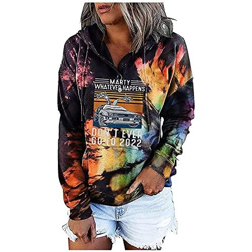 YESMAN Sudadera con capucha para mujer con estampado de arco iris, con estampado de arco iris, para adolescentes, holgada y deportiva, con estampado de letras, sudadera con capucha, Morado B, L