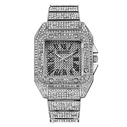 Junmei Reloj Iced out para Hombre, Hip Hop Bling-ed out Reloj con Esfera Cuadrada Enorme Pulsera Reloj de Cuarzo con Diamantes de Cristal simulados