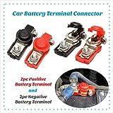 Car Battery Cable Terminal Clamps Connectors 2pc Negative + 2pc Positive Top Post Copper Plastice Cover Good Contact Corrosion Resistance