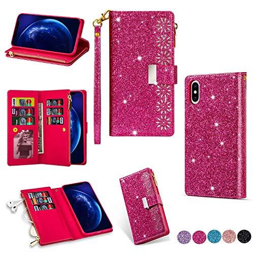 Miagon Reißverschluss Brieftasche Glitzer Hülle für iPhone XR,Flip Handytasche mit 9 Kartenfächer Handschlaufe PU Leder Magnet Bling Multifunktions,Rose Rot