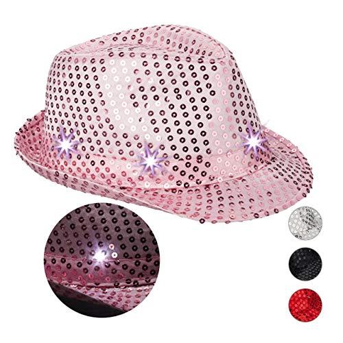 Relaxdays 10023897_52 Pailletten Hut, 6 blinkende LEDs, mit Glitzer, Männer & Frauen, JGA, Fasching, Partyhut, Einheitsgröße, pink, Unisex– Erwachsene