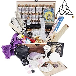 Witchcraft Kit and Herbalism Kit | Witchcraft Herbs and Witch Crystals for Witchcraft | Alter Kit | 94 Wiccan Supplies and Tools | Witch Starter Kit for Beginner | Cauldron | Resin Incense | Orgonite