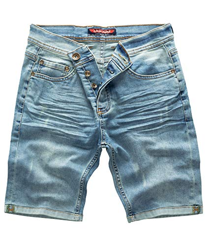Rock Creek Herren Shorts Jeansshorts Denim Short Kurze Hose Herrenshorts Jeans Sommer Hose Stretch Bermuda Hose Hellblau RC-2201 Lightblue W32