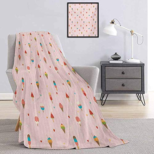 Ice Cream Rugged or durable camping blanket Pastel Pink Striped Backdrop with Hearts Different Toppings on Sticks and Cones Warm and washable W57 x L74 Inch Multicolor