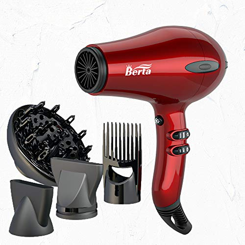 BERTA 1875W Hair Dryer Negative Ionic Blow Dryer With Four Accessories 2 Speed and 3 Heat Settings Professional AC motor, Cola Red