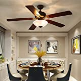 Ceiling Fan with Light 52-inch Brown 5-leaf Flush Mount Indoor Ceiling Fan Light ETL Listed for...