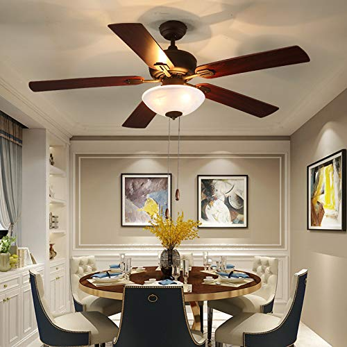 Ceiling Fan with Light 52-inch Brown 5-leaf Flush Mount...