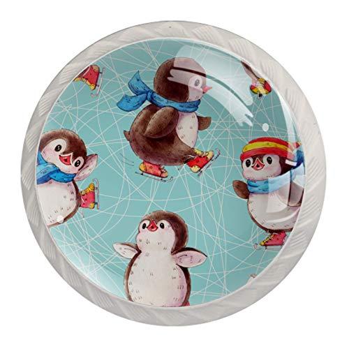 4 cajones de cristal con asas redondas para el hogar, la oficina, la cocina, el baño, el tocador, el armario y el armario con tornillos, diseño de pingüino