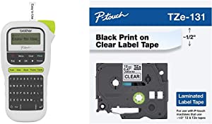 Brother P-Touch, Easy Portable Label Maker, Lightweight, QWERTY Keyboard, One-Touch Keys & Genuine P-Touch TZE-131 Tape, 1/2