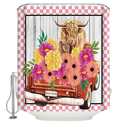 PartyShow Polyester Shower Curtain Highland Cattle and Farm Blooming Floral, Bath Curtain for Bathroom/Baby Room/Study Room/Kitchen Set with Hook Red Pickup Truck Pink Check Stall 54 x 78 Inch