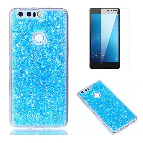 Pour Coque Huawei Honor 8 Silicone Souple Étui avec Écran Protecteur, OYIME [Paillette Brillante Bleu] Housse Glitter Luxe Ultra Fine Transparent Couverture Anti-Scratch Flexible