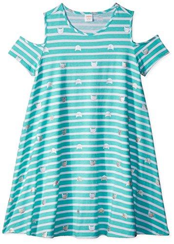 Gymboree Girls' Little Cold Shoulder Knit Dress, Spearmint Stripe, L
