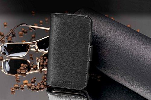 Cadorabo Hülle für Huawei Ascend Y330 - Hülle in Oxid SCHWARZ – Handyhülle mit Kartenfach aus struktriertem Kunstleder - Case Cover Schutzhülle Etui Tasche Book Klapp Style - 4
