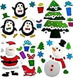 4 Hojas de Pegatinas Decorativas de Navidad para la Ventana - Adhesivos Decorativos de Gel Para la Ventana