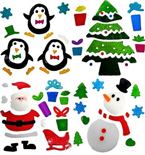 4 Hojas Pegatinas Decorativas Navidad Ventana - Adhesivos
