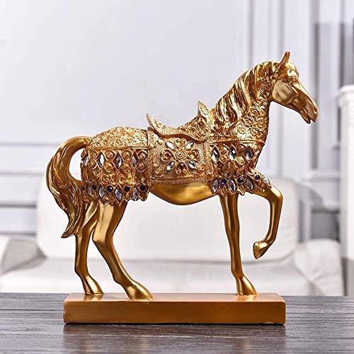 AINIYF Adornos Caballo Caballo esculturas de Gran tamaño decoración de la Resina Crafts for el hogar Sala de Estar (Color : Gold, Size : 29cm)
