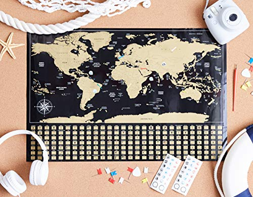 "Amazon Basics Scratch-Off Poster of The World Map & The United States Map with Scratcher and Tracking Accessories, 16"" x 24"" and 17"" x 11.8"""