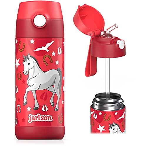 Jarlson® Borraccia Bambini Acciaio Inox, Bottiglia Termica, Senza BPA, Bottiglia Acqua con Cannuccia, Termos 350 ml (Cavalla, 350)