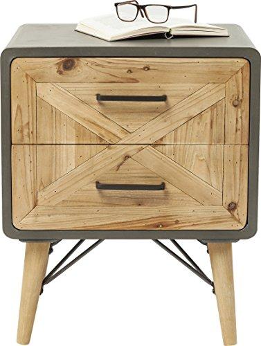 Kare Design Nachtkonsole X Factory, Holzkommode mit 2 Schüben aus Tannenholz, Nachttisch, Kommode in Betonoptik, (H/B/T) 60x50x40cm