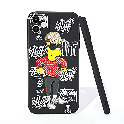 iPhone 11 Case Cool Hypebeast Simpsons Bart Soft Flexible TPU Kawaii Cool Unique Funny Stylish Fashion Cover with Full HD + Graphics