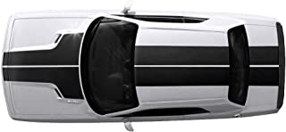 Factory Crafts T-Hood Roof and Trunk Stripes Graphics Kit Vinyl Decal Wrap Compatible with Dodge Challenger 2008-2013 - Matte Black
