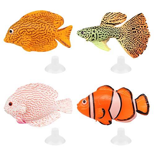Jubapen 4 Stück Künstliche Fisch Aquarium Gefälschter Fisch Schwimmende Aquarium Ornamente Silikon Gefälschter Tropischer Fisch für Aquarium Dekoration Künstliches Fischaquarium (4 Größen, 4 Farben)