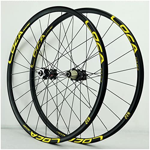 VPPV Ruedas de Bicicleta MTB 26 Pulgadas 27,5' 29er, Pared Doble Aleación Aluminio Ruedas Bicicleta Carretera Rodamiento Sellado 24 Hoyos para 7/8/9/10/11 Velocidad (Color : Yellow, Size : 27.5 er)