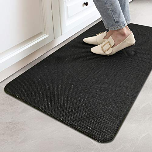 """DEXI Anti Fatigue Comfort Mat Cushioned Floor Rug Woven Fabric 1/2"""" Thick for Standing Office 18""""x30"""" Black"""