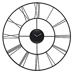 Infinity Instruments Modern Tower Oversized XXL 45 inch Large Metal Wall Clock Decorative Roman Numeral Home Decor Huge Living Room Clocks