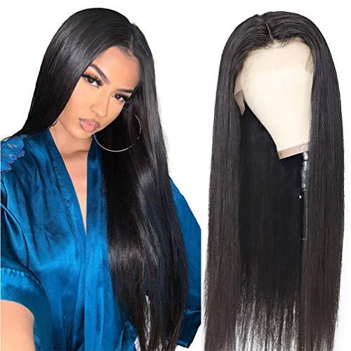 7A Grade Brésilienne Vierge Perruque De Cheveux Humains Sans Colle Lace Front Perruques Soyeuses Droites Avec Des Cheveux De Bébé Noir Naturel Pour Les Femmes (35,5 cm De Cheveux Humains)