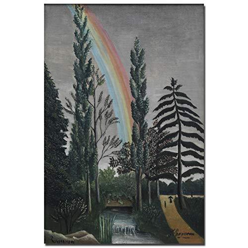 Sin Marco Paisaje Abstracto árbol y Arco Iris en la decoración de la residencia del artista50x70cm