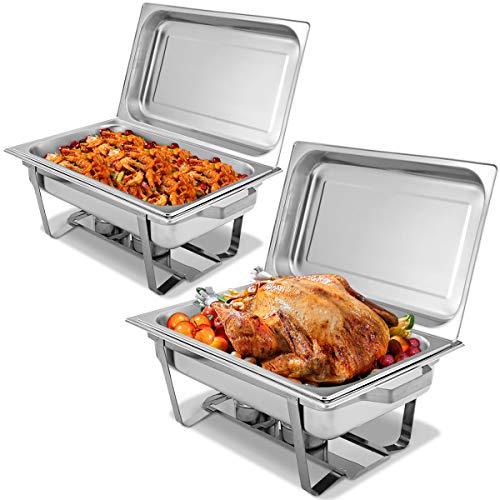Giantex 2 Packs Chafing Dish 9 Quart Chafter Dishes Stainless Steel Chafing Dishes Rectangular Chafer Dish Set with Full Size Chafing Food Pan